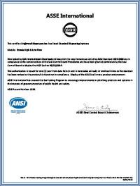 ASSE certificate image