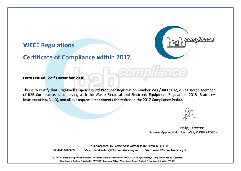 WEEE certificate of compliance 2015